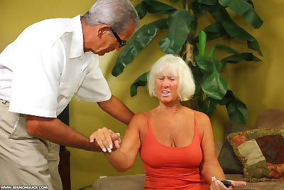 White haired horny granny on..