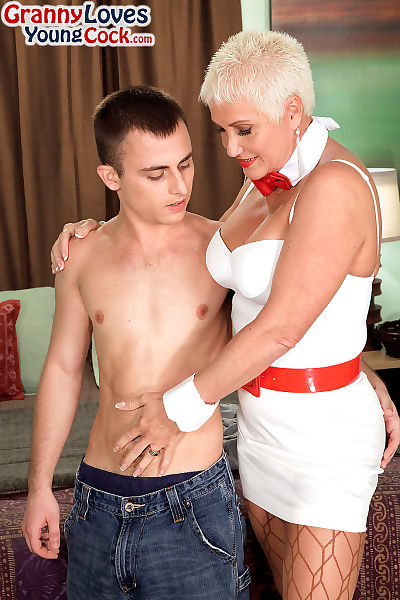 Hot grandmother with short..