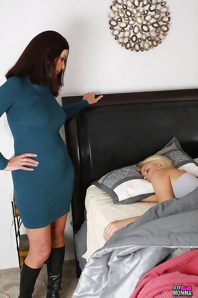 Sofa blonde skirt handjob