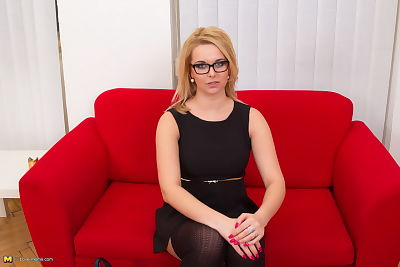 Clothed blonde in glasses-..