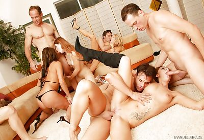 Wild groupsex with a bevy of..