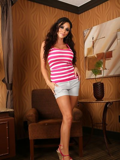 Dark haired Ariella Ferrera..
