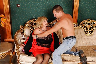 Big busted granny gets her..