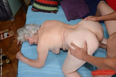 Hairy pussy of sweet granny..